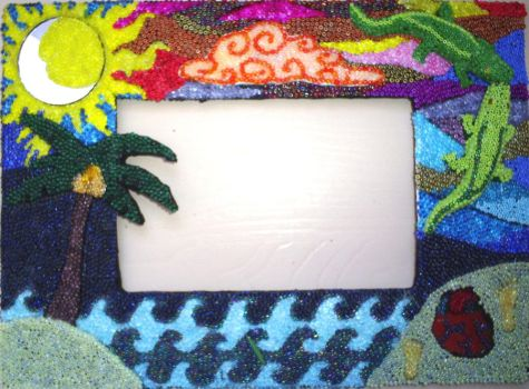 Crocodiles on the beach picture frame by Myzh