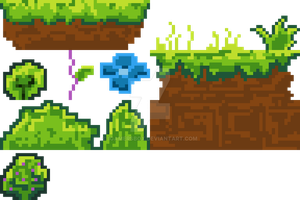 Pixel Dirt and Bushes (My first pixel art) by iGamersBox
