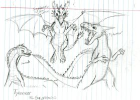 Tyranno vs. Gryphonos (Old concept) by Dinoboy134