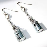 Silver Capacitor and Heart Earrings by Techcycle