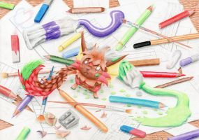 Between brushes and pencils by Mystery-Vitani