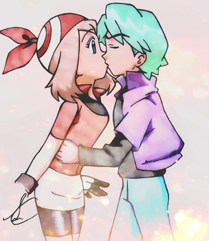 First kiss - May/Drew [Pokemon] by SidselC