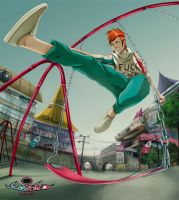 Jimmy in the swing park by Leonatsume