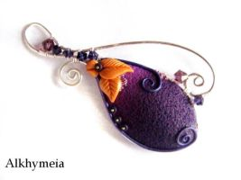 VegetAria in Purple and Orange, the pendant by Alkhymeia