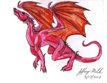 Leaping Red Dragon by Jeffrey-Scott