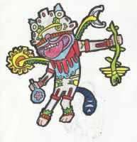 Psychedelic Mayan God Cat (2) by 2eyes-97