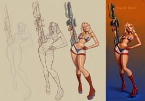 Tank Girl in 4steps by bogdancovaciu