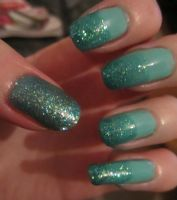 Misty Jade Glittery Nails by soyoubeauty