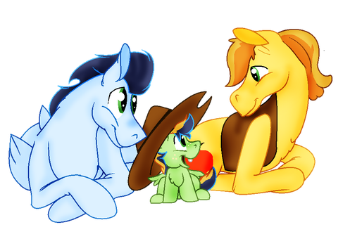 Soarin and Braeburn have a magic butt baby by JennytheJackass