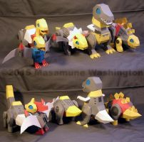 Superdeformed Dinobots full set of cardmodels by Masamune-Washington
