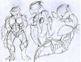 Sketch male shrimp body by Drakoniawar