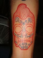 mexican rockabilly skull by piglegion