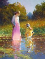 'Tranquil Moment' Oil on Canvas By Robert Hagan by robert-hagan