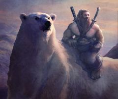 Dwarf on a Bear by mattforsyth
