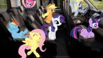 Mane 6 With Derpy In A Car by Mr-Kennedy92