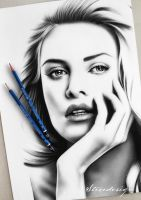 Charlize Theron Pencil Drawing by StevedesignStudio