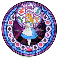 Alice - Kingdom Hearts Stain Glass by reginaac57