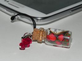 Strawberry Cell Phone Charm, Strawberry Fields For by Secretvixen
