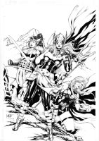 Thor, Sif and Valkyrie by Leomatos2014