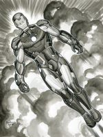 IRON MAN BLEEDING EDGE INK SKETCH by AHochrein2010