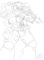 Space Marine lineart by Chaplain-Seraphi