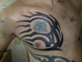 tribal tattoo colored by campfens
