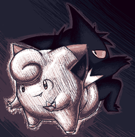 Palette Challenge ~ Clefari and Gengar by NeppyNeptune