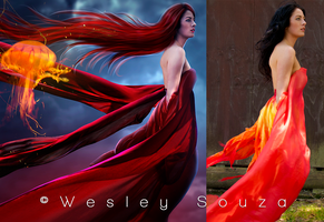 The Flame of the Jellyfish - before and after by Wesley-Souza