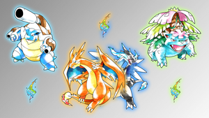 Mega Kanto Starters Wallpaper by Glench