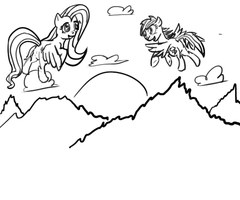 Doodle: [WIP] A Sunset on the Mountains by Zoofie