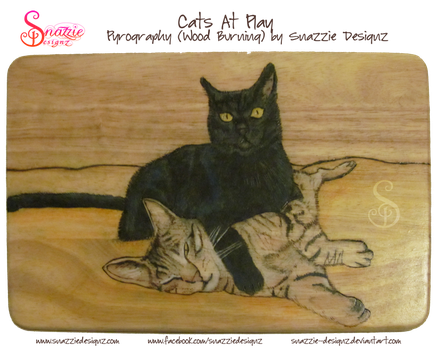 Cats at Play Pyrograph Wood Burning by snazzie-designz