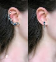 1001 variation of silver ear cuff Star river :) by JSjewelry