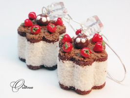 Earrings Sponge Dessert 1 by OrionaJewelry