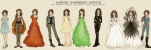 Katniss Everdeen's OUTFITS THROUGH THE SERIES by xxIgnisxx