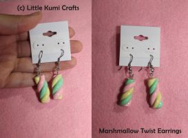 Marshmallow Twist Green,Pink,Yellow Earrings by lkcrafts