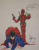 deadpool vs. superman by ChrisOzFulton