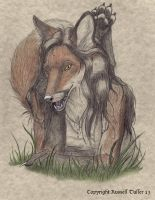 Anthro Fox Portrait 2 by RussellTuller
