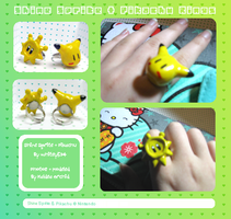 Shine Sprite and Pikachu Rings by KaldeaOrchid