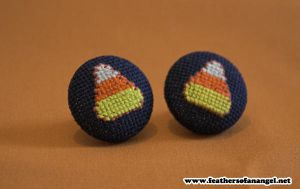 Candy Corn Earrings by FeathersOfAnAngel
