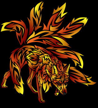 Fire Nine-tailed Fox Tattoo by Blue-Storm-Spirit