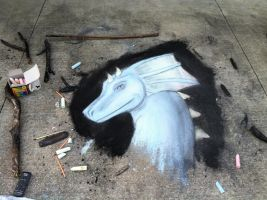 Chalk dragon by CrystalCircle