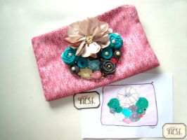 Flower and me Clutch by ncyliandocoleman