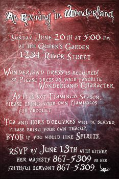 Wonderland party invitation by mattgorecki
