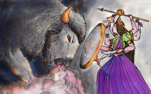 The fight between Durga and the Buffalo Demon by mebeme14