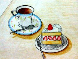 Tea with strawberry shortcake by yessy04maple