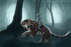 WOW  Azshara ridding a nightsaber by ClaireLyxa