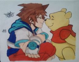 Sora and Pooh by Nymfo