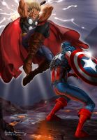 ThorVsCaptainAmerica by blewh