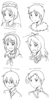 Commission Batch headshot sketches by megumimaruidesu