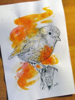 Watercolor Robin by PoisonIky